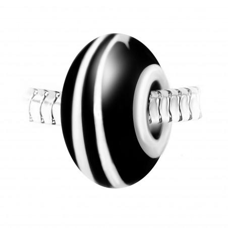Charm perle spirale verre noir et blanc décoré main et acier par So Charm