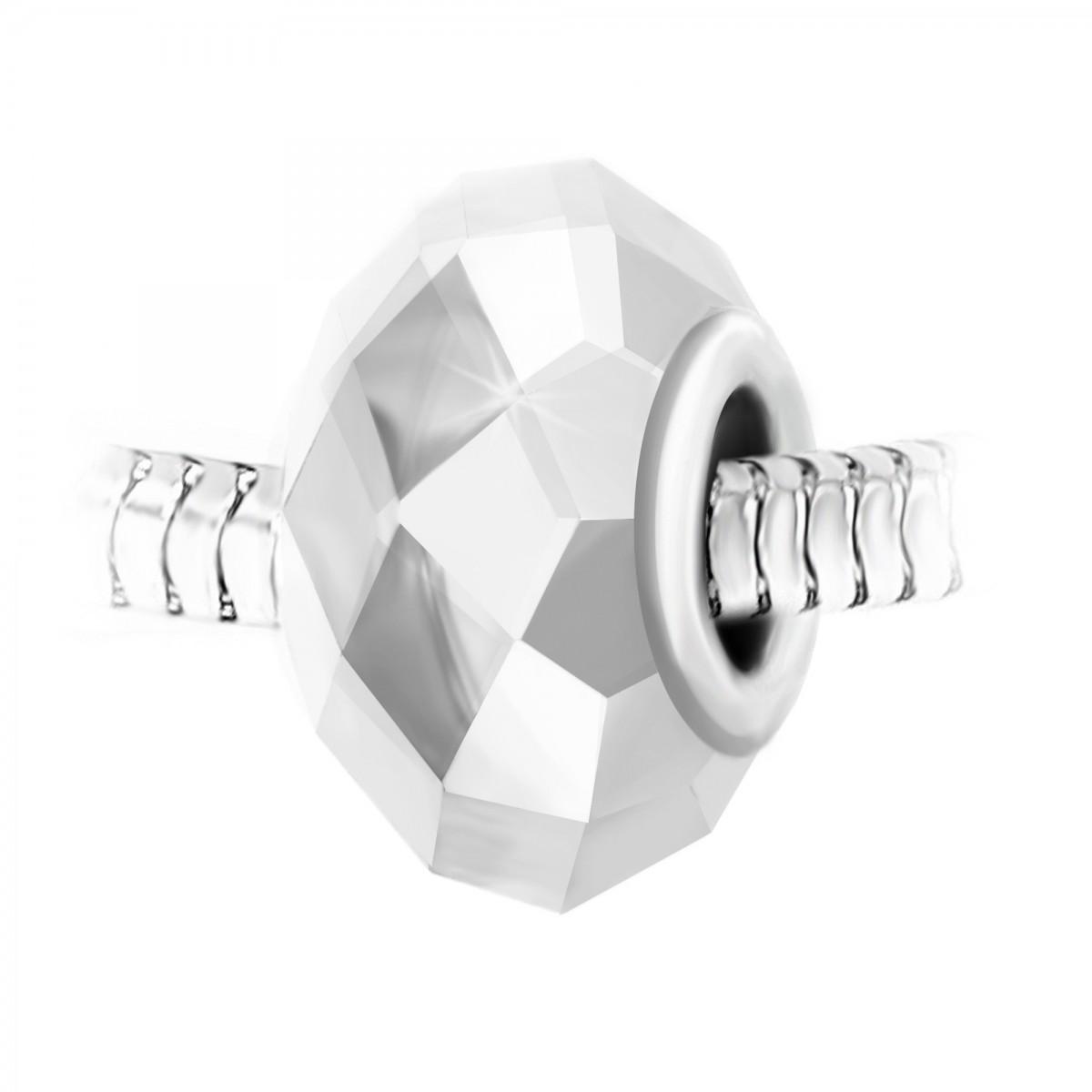 Charm perle cristal à facettes et acier par So Charm