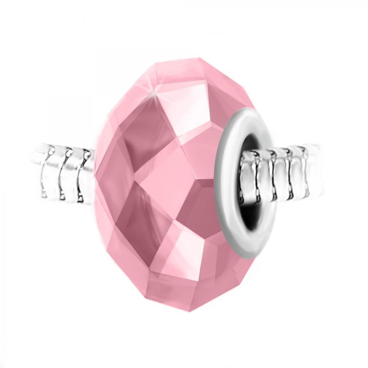 Charm perle cristal rose à facettes et acier par So Charm