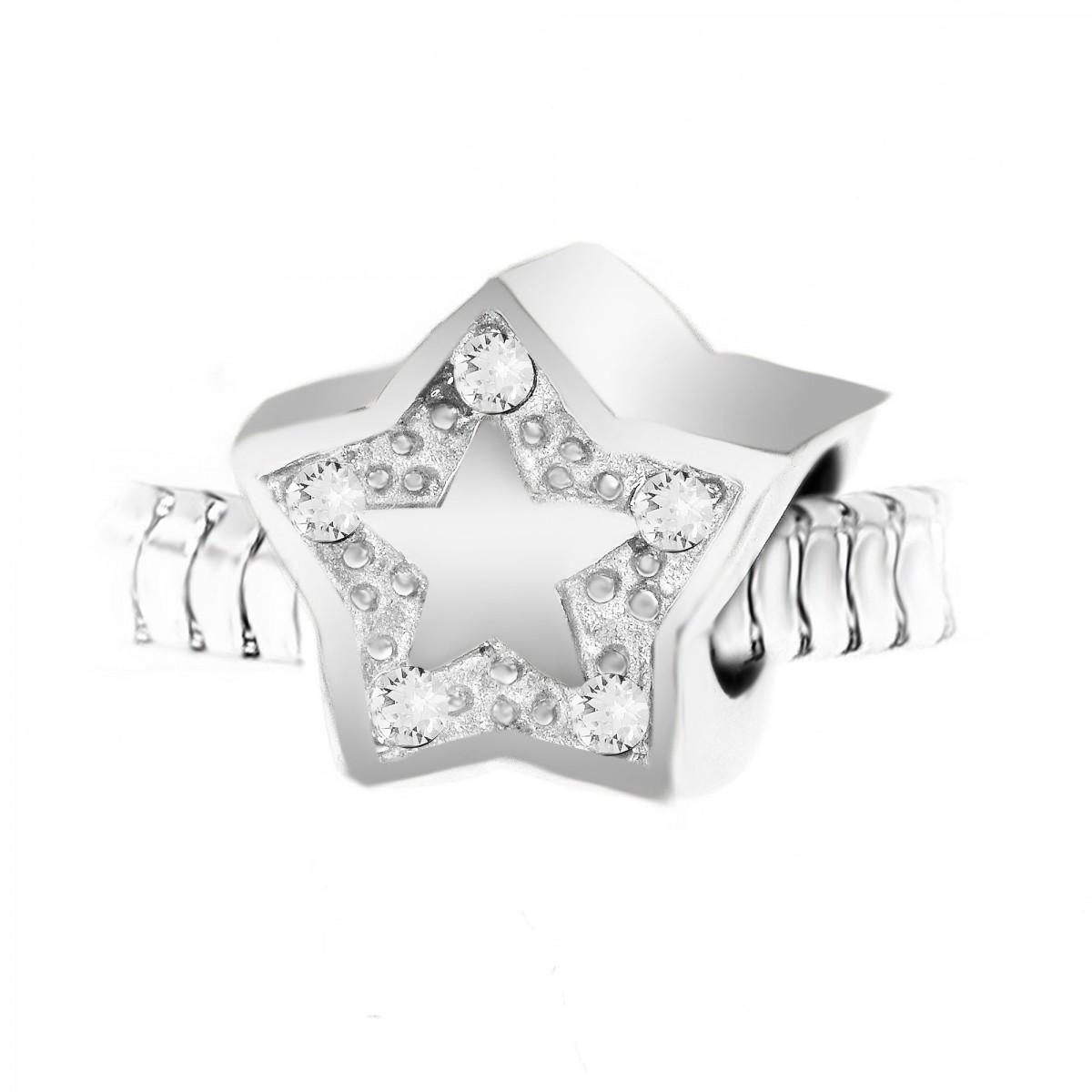 BEA0045 Charm perle étoile orné de cristaux et acier par So Charm