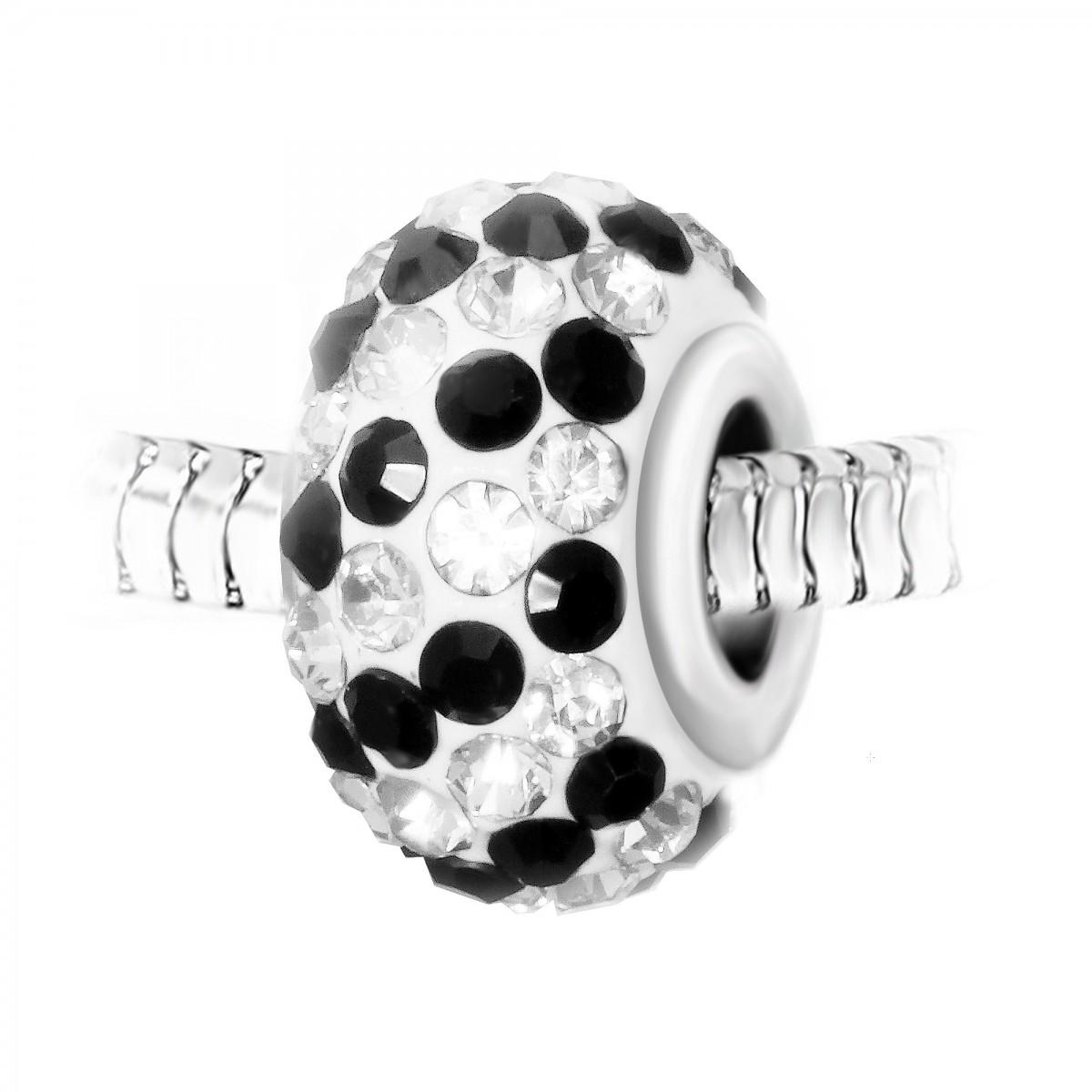 Charm perle pavé de cristaux noirs et blancs et acier par So Charm
