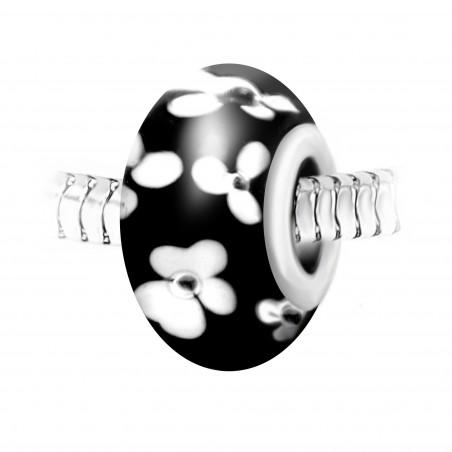 Charm perle noir fleurs verre décoré main et acier par So Charm