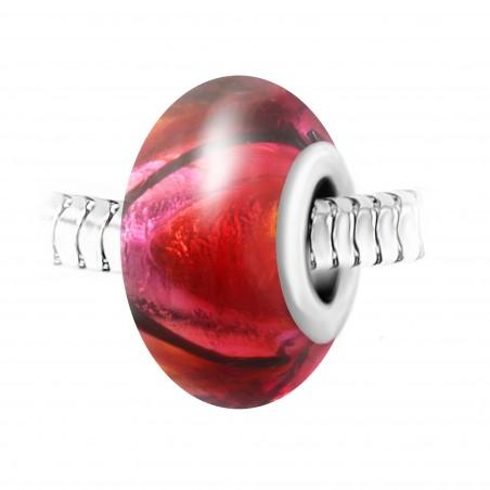 Charm perle verre rouge décoré main et acier par So Charm