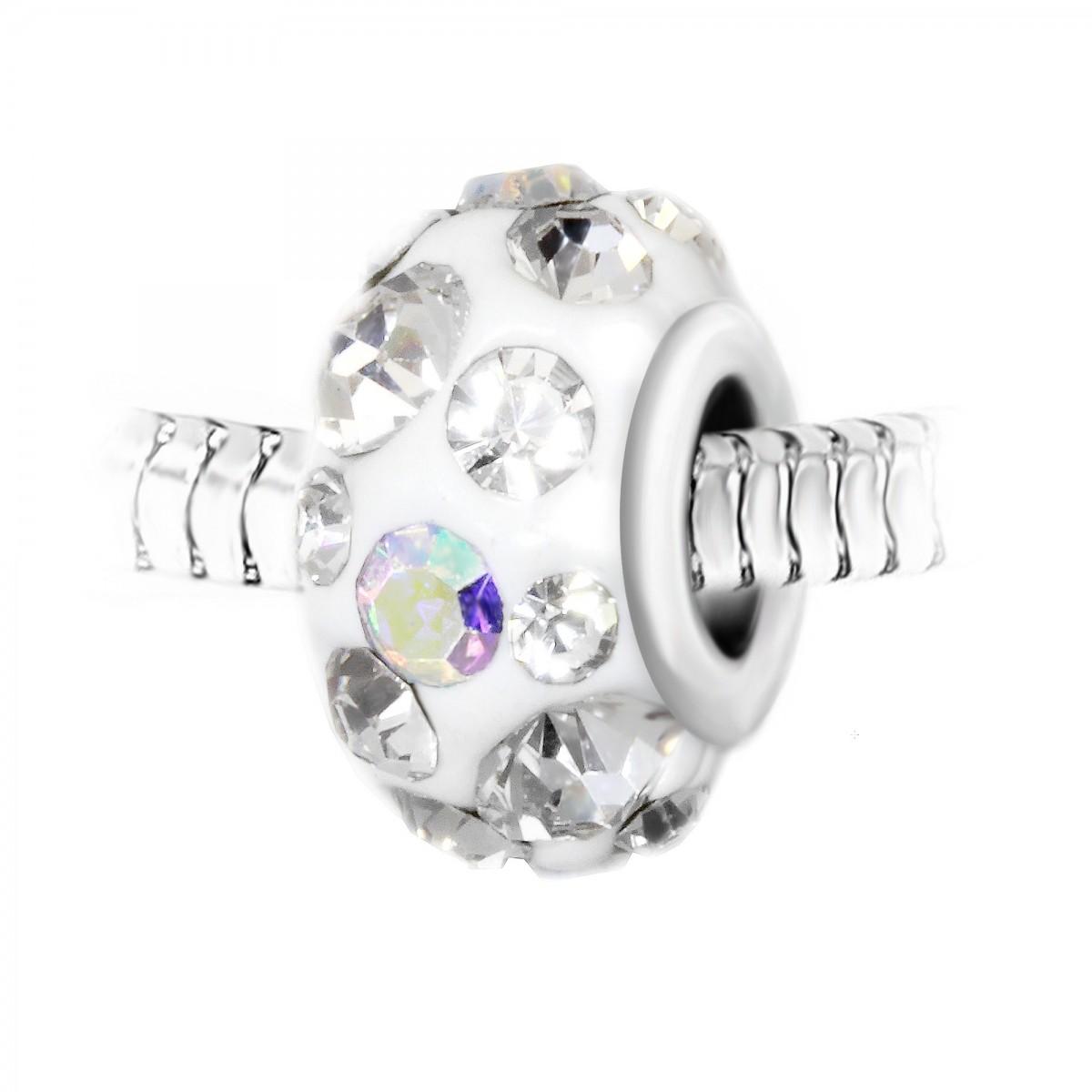 Charm perle blanc pavé de cristaux et acier par So Charm