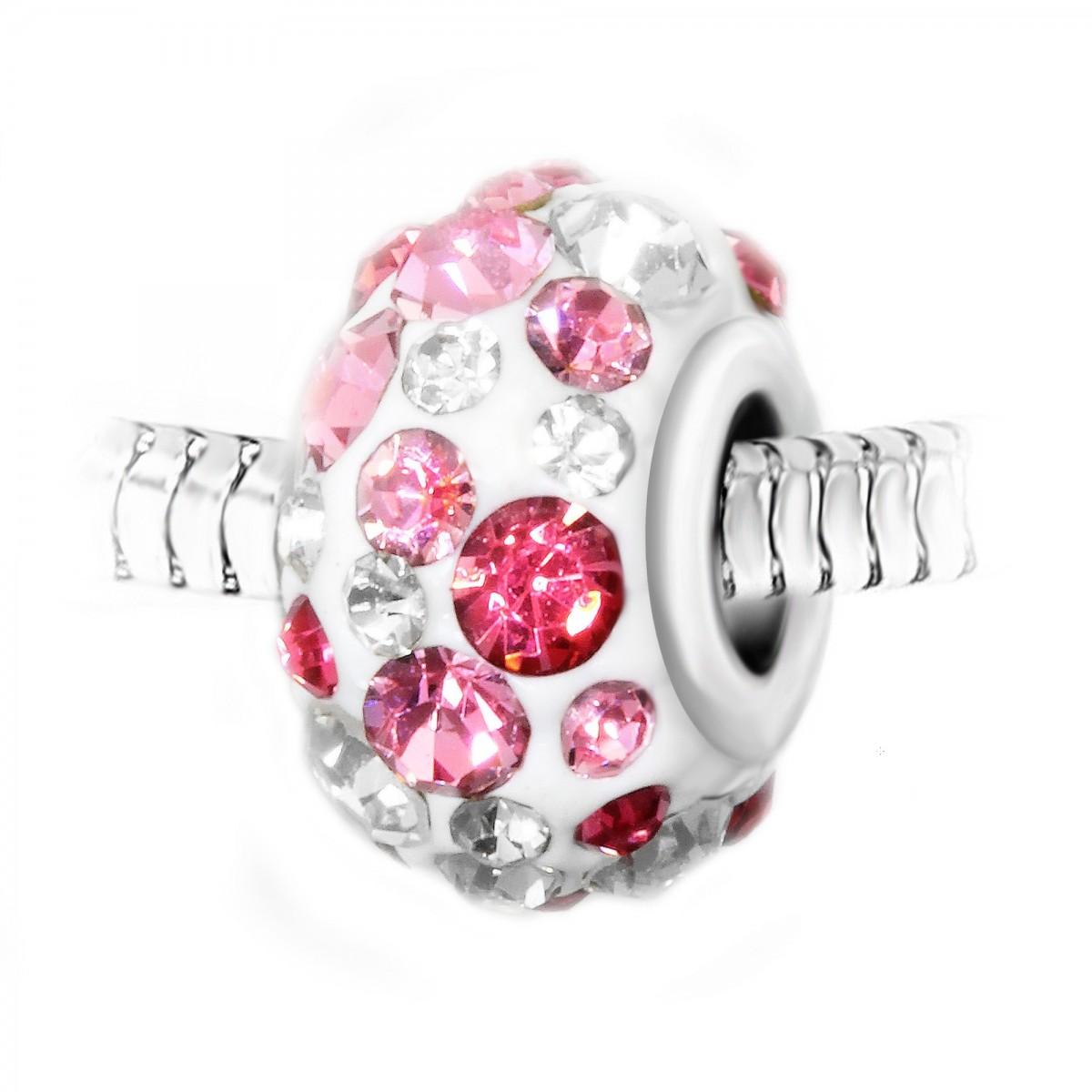 BEA0111 Charm perle blanc pavé de cristaux roses et blancs et acier par So Charm