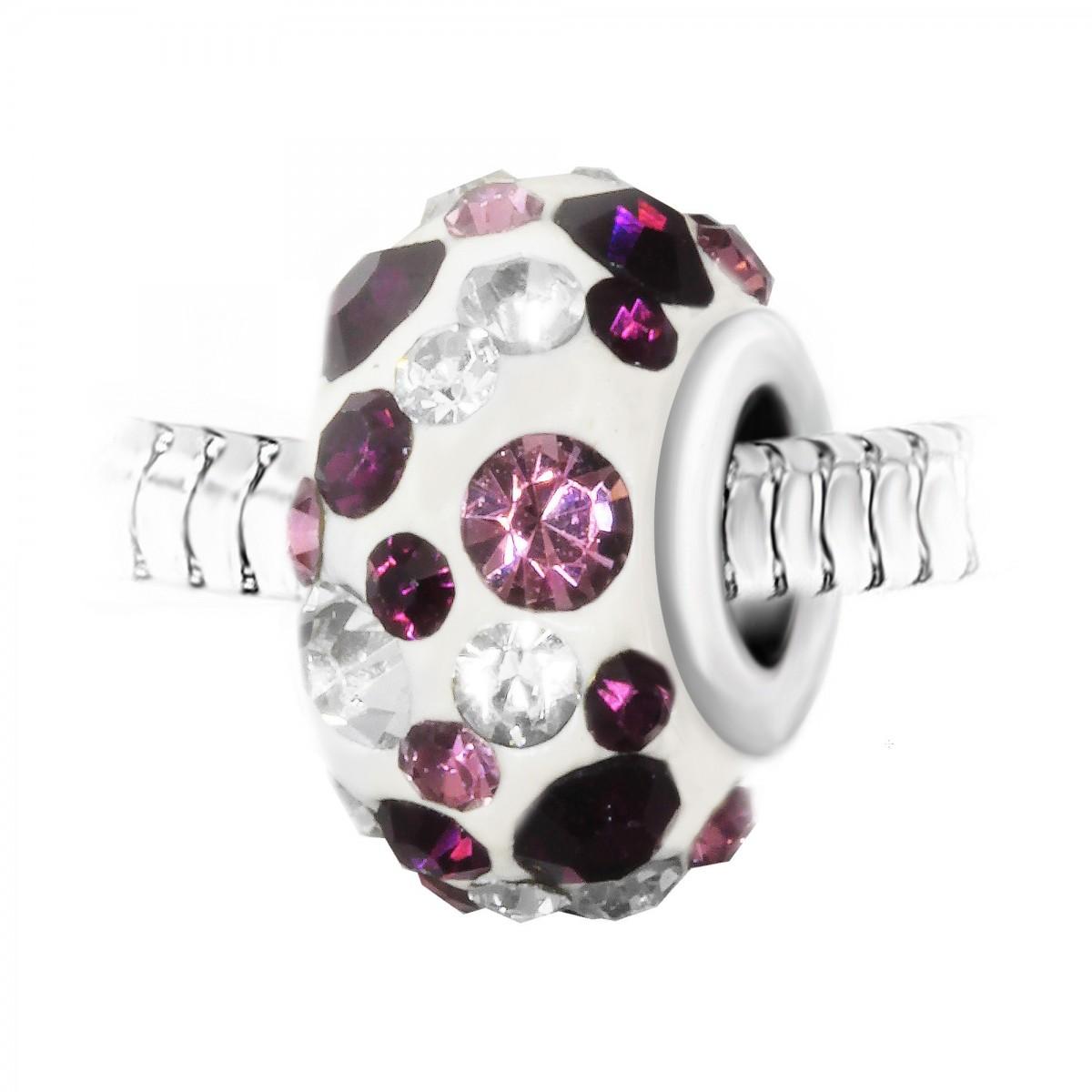 Charm perle blanc pavé de cristaux violets et blancs et acier par So Charm