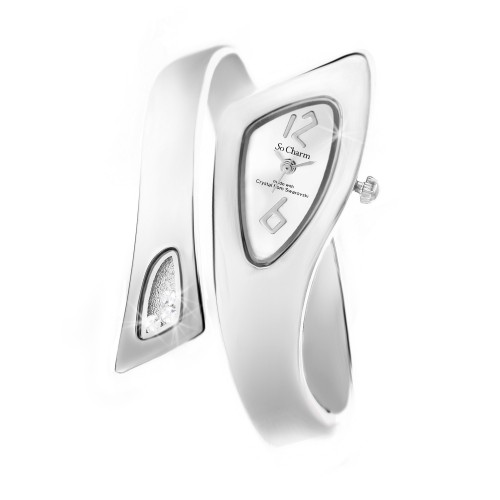 Montre Bangle argentée So Charm made with crystal from Swarovski