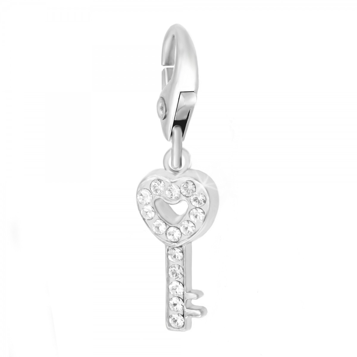 Charm Clé coeur strass So Charm made with Crystal from Swarovski