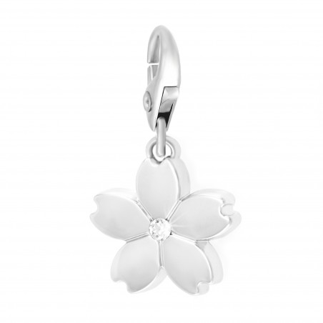 Charm fleur argentée So Charm made with Crystal from Swarovski