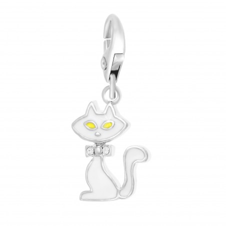 Charm chat blanc So Charm made with crystal from Swarovski