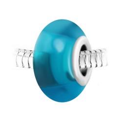 Charm perle verre bleu et...