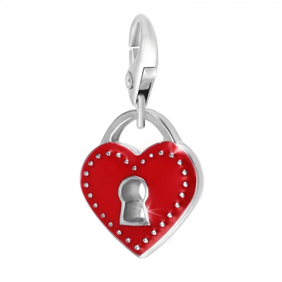 Charm cadenas dans coeur rouge So Charm