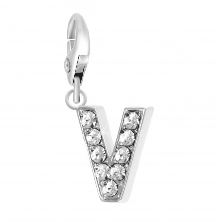 Charm Lettre V So Charm made with Crystal from Swarovski