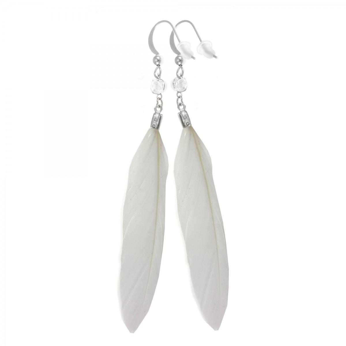 Boucles d'oreilles plumes blanches So Charm
