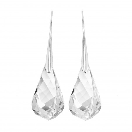Boucles d'oreilles plaquées argent et goutte cristal So Charm made with crystal from Swarovski