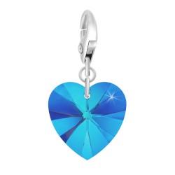 Charm coeur bleu orné de...