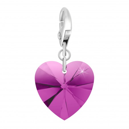 Charm coeur rose made with Crystal from Swarovski par So Charm