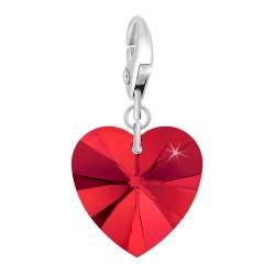 Charm coeur rouge orné de...