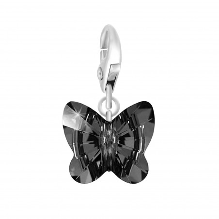Charm papillon made with Crystal from Swarovski noir par So Charm