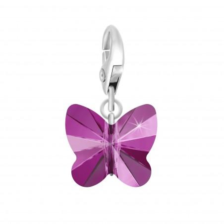 Charm papillon orné d'un cristal fushia SWAROVSKI® ELEMENTS par So Charm