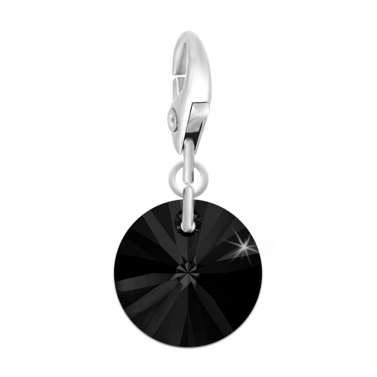 Charm rond noir So Charm made with Crystal from Swarovski