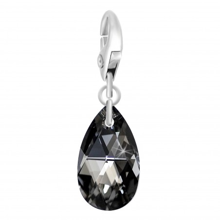 Charm goutte made with Crystal from Swarovski noir par So Charm