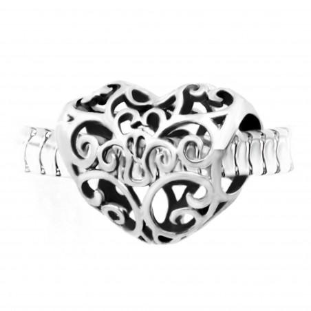 Charm perle cœur ornemental acier par So Charm