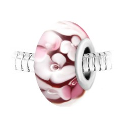 Charm perle fleurs verre...