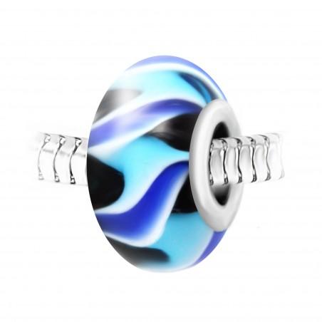 Charm perle verre bleu décoré main et acier par So Charm