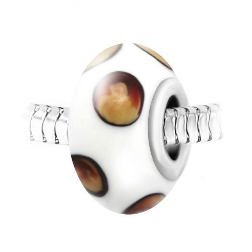 Charm perle verre décoré main et acier par So Charm