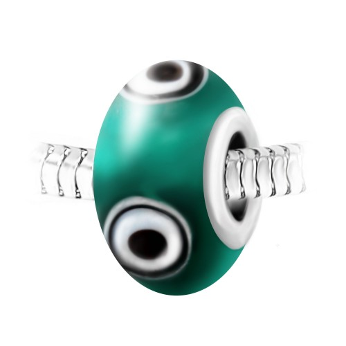 Charm perle verre vert décoré main et acier par So Charm
