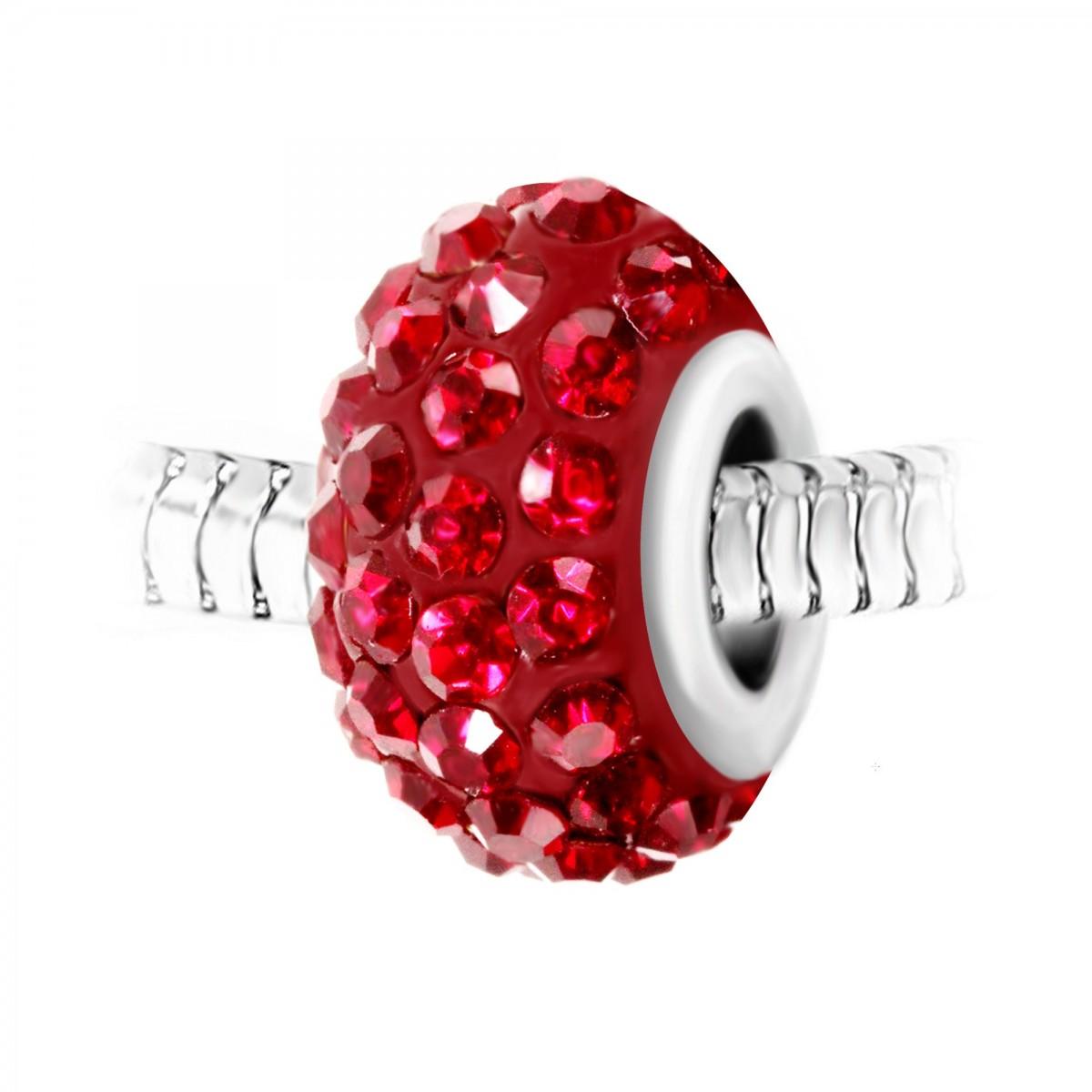 Charm perle pavé de cristaux rouges et acier par So Charm