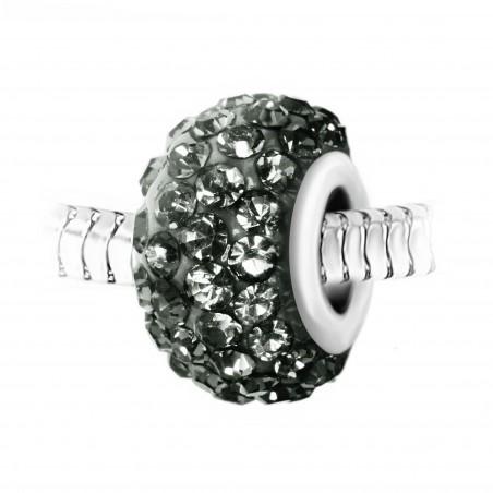 Charm perle pavé de cristaux gris et acier par So Charm