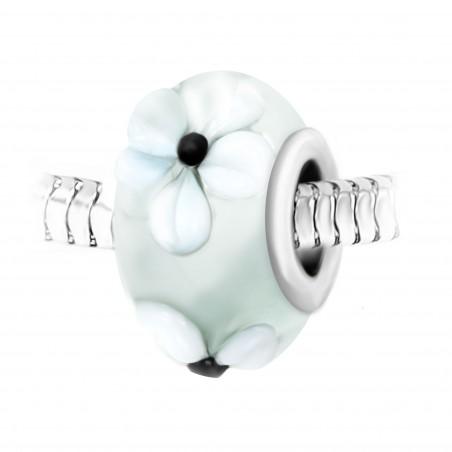 Charm perle fleurs verre décoré main et acier par So Charm