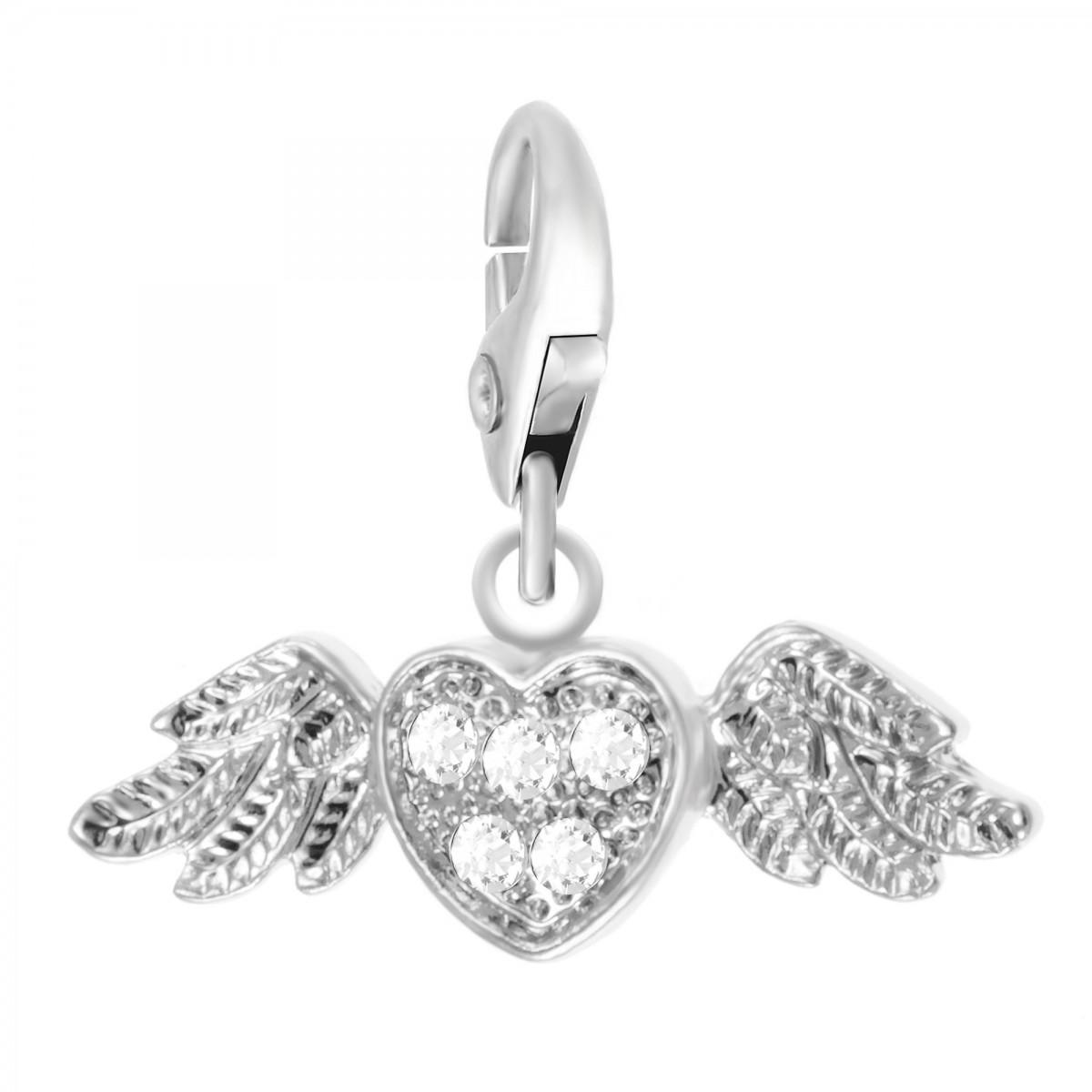 Charm Coeur ailé So Charm made with crystal from Swarovski