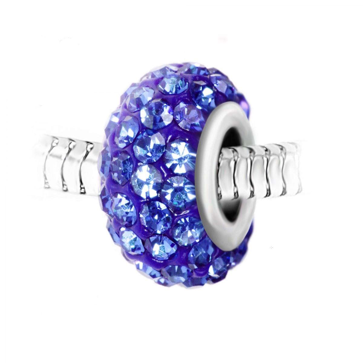 Charm perle pavé de cristaux bleus et acier par So Charm