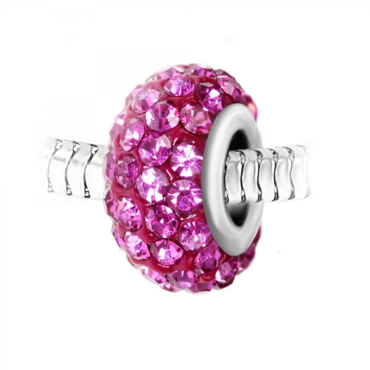 BEA0029 Charm perle pavé de cristaux roses et acier par So Charm