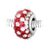 Charm perle pavé de cristaux rouges et blancs et acier par So Charm