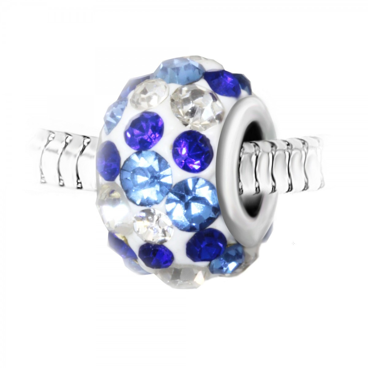 Charm perle blanc pavé de cristaux bleus et blancs et acier par So Charm