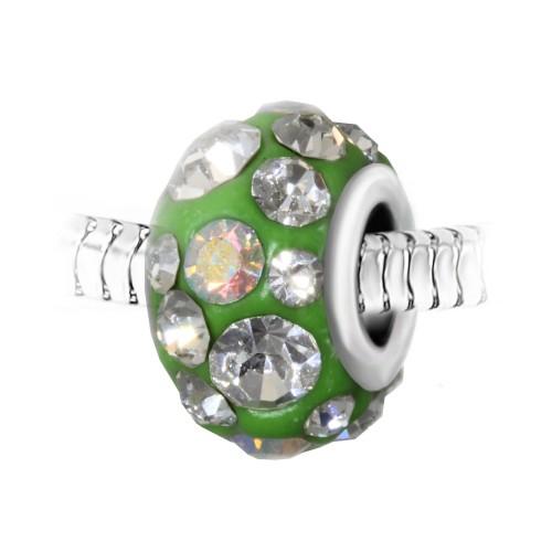 Charm perle vert pavé de cristaux et acier par So Charm