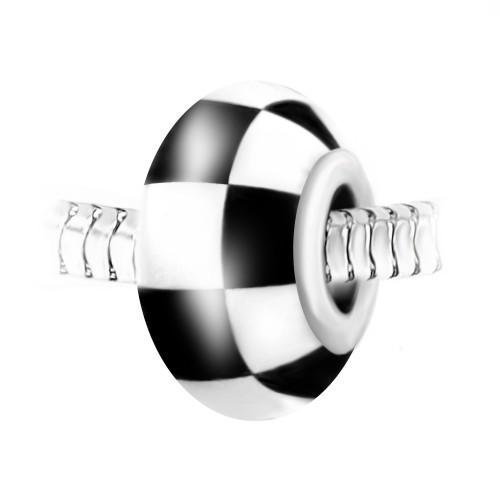Charm perle verre damier décoré main et acier par So Charm