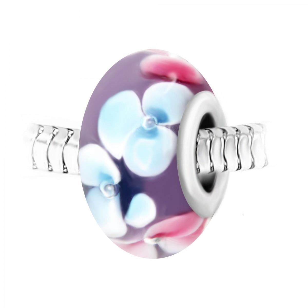 Charm perle rose fleurs verre décoré main et acier par So Charm