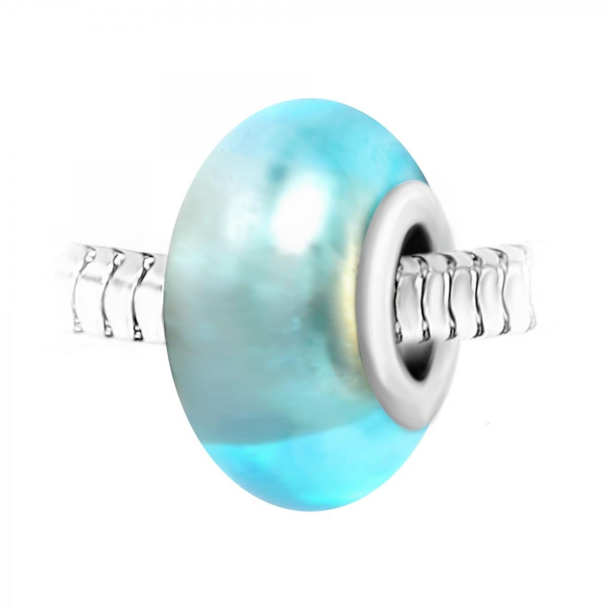 Charm perle verre bleu et acier par So charm