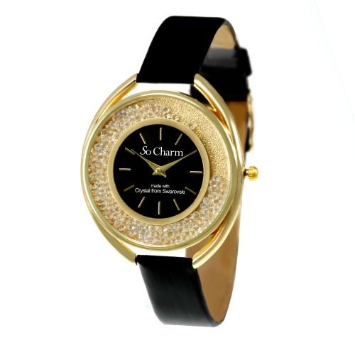 Montre mode femme bracelet noir So Charm made with 60 crystal from Swarovski Elements