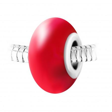 Charm perle  verre nacré rouge et acier par So Charm