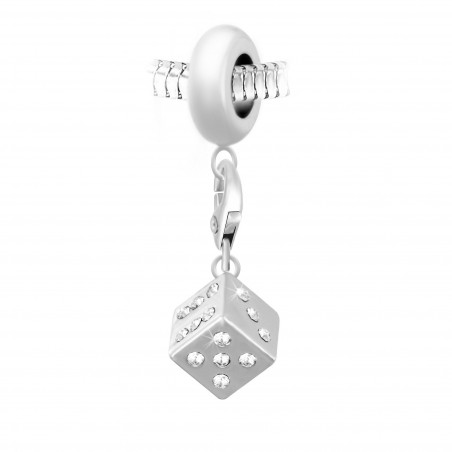 Charm perle So Charm en acier avec pendentif Dé made with Crystal from Swarovski