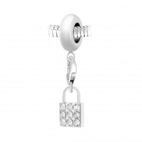 Charm perle So Charm en acier avec pendentif cadenas made with Crystal from Swarovski