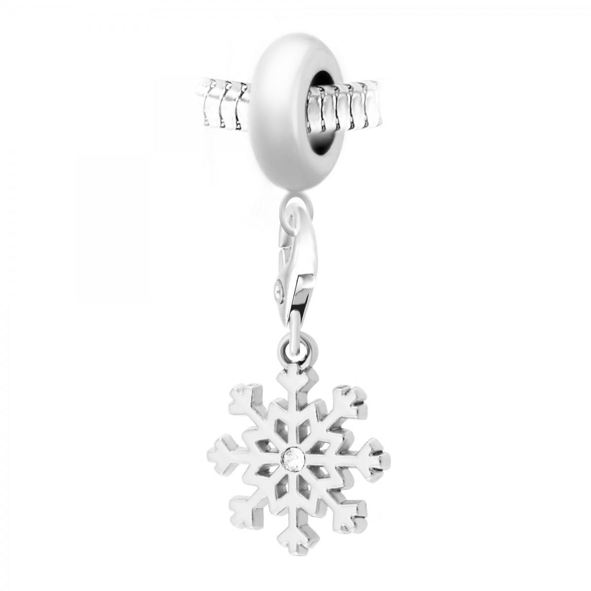 Charm perle So Charm en acier avec pendentif flocon de neige made with Crystal from Swarovski