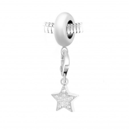 Charm perle So Charm en acier avec pendentif étoile made with crystal from Swarovski