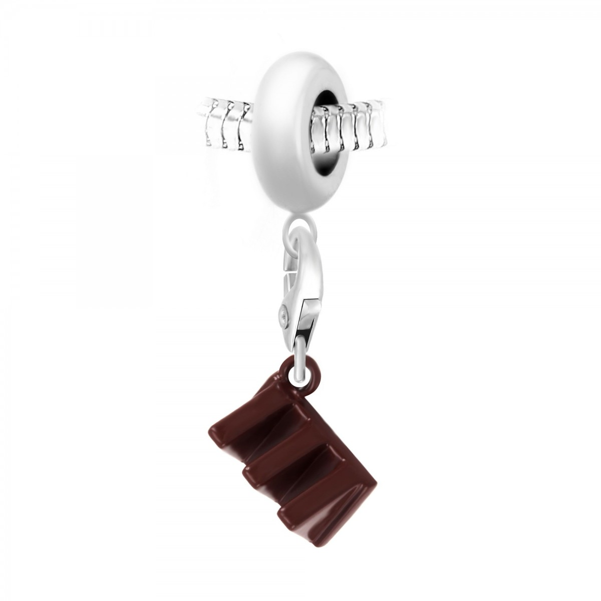 Charm perle So Charm en acier avec pendentif chocolat